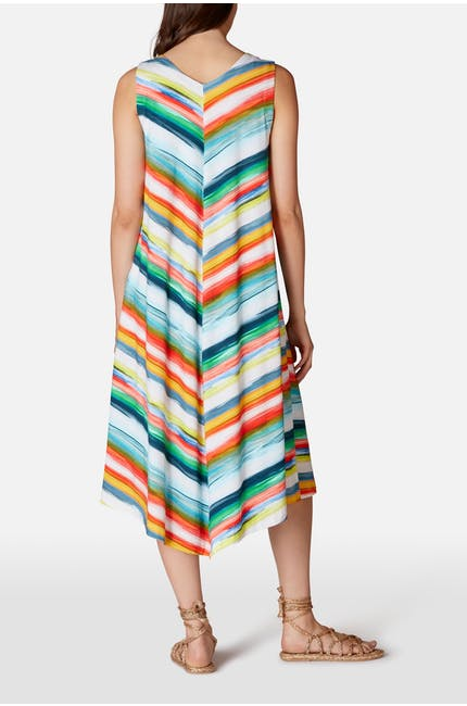 Vibrant Stripe Chevron Jersey Dress