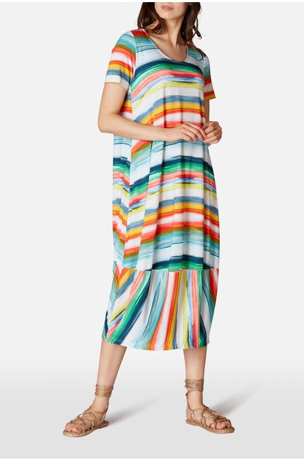Vibrant Stripe Jersey Dress