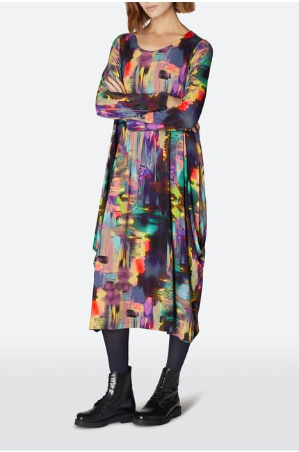 Brushstroke Print Bubble Dress