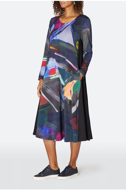 Paintbox Print Jersey Dress