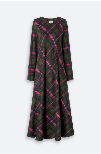 Plaid Jersey Flared Dress