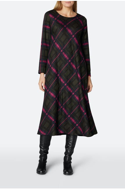 Photo of Plaid Jersey Flared Dress