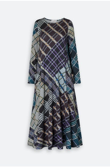 Patchwork Check Jersey Dress