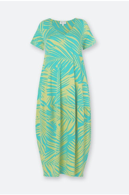 Tropical Palm Print Jersey Dress