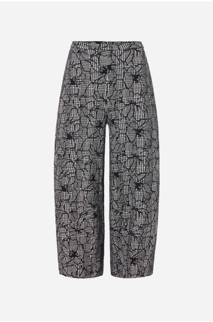 Linear Floral Check Trouser