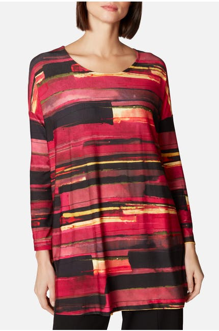 Brush Print Jersey Easy Top