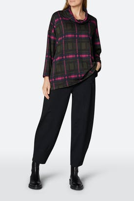 Photo of Plaid Jersey Cowl Neck Top