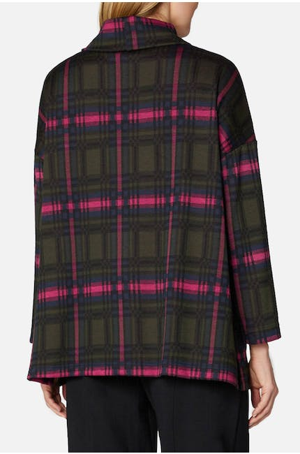 Plaid Jersey Cowl Neck Top
