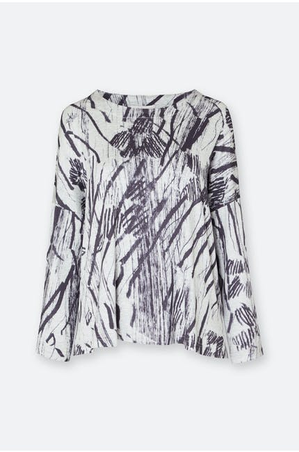 Charcoal Print Jersey Boxy Top