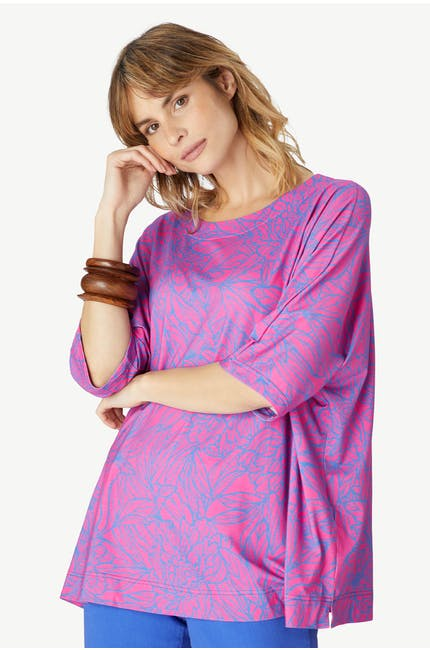 Linear Floral Jersey Top