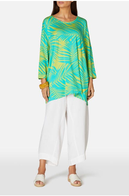 Tropical Palm Print Jersey Top