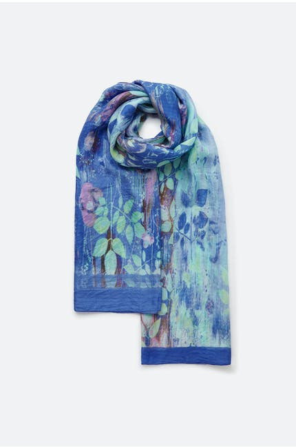 Photo of Leaf Print Silk Scarf