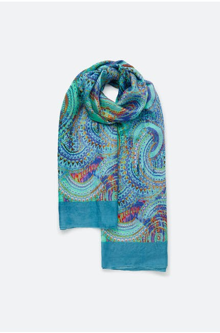Photo of Aqua Print Silk Scarf