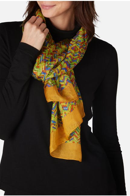Photo of Blurred Print Silk Scarf