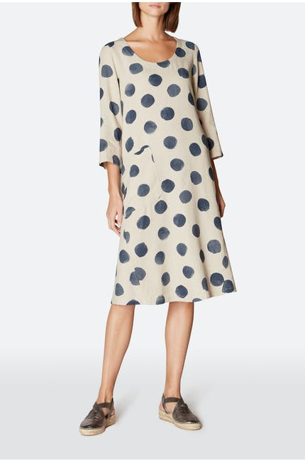 Painters Spot Linen Flared Dress