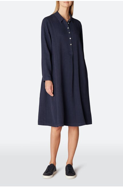 Textured Linen Shirt Dress