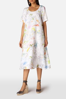 Photo of Linen Riviera Print Flared Dress