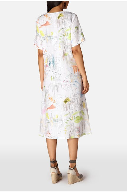 Linen Riviera Print Flared Dress