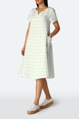 Photo of Patch Check Pocket Linen Dress