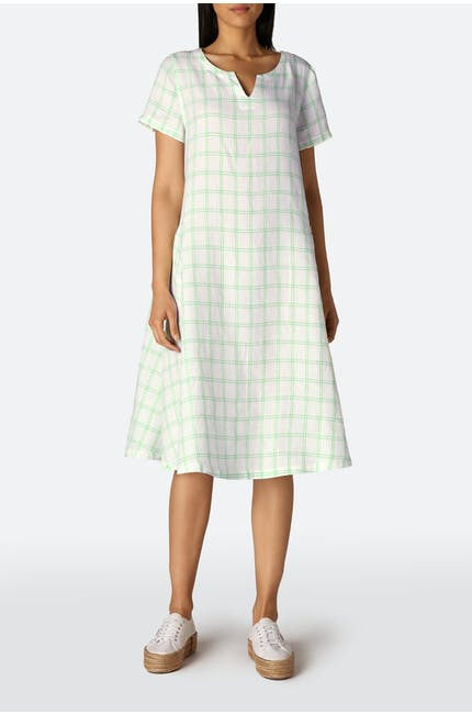 Patch Check Pocket Linen Dress