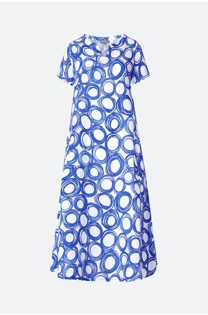 Graphic Spot Linen Dress