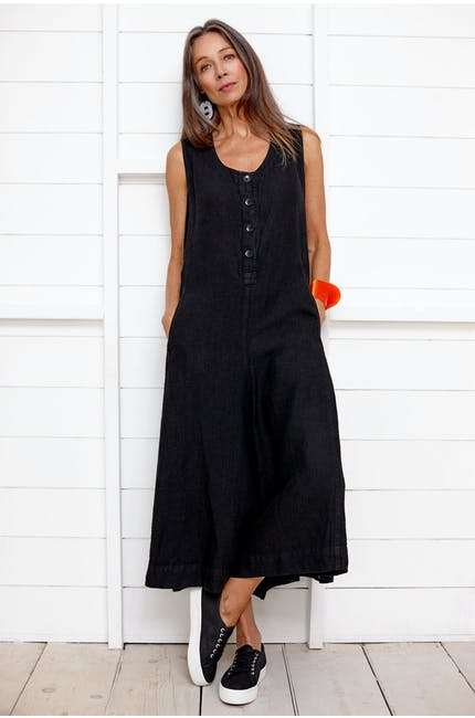 Photo of Linen Dobby Flared Jumpsuit