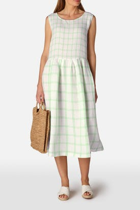 Photo of Patch Check Sleeveless Linen Dress
