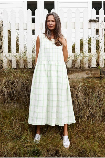 Patch Check Sleeveless Linen Dress