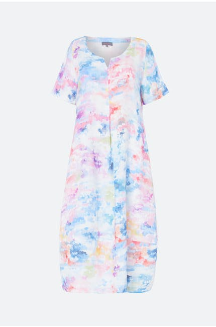 Dapple Print Linen Dress