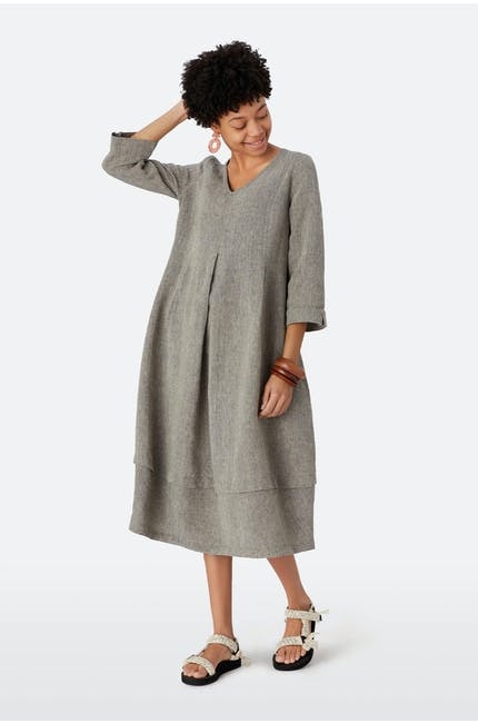 Cross Dye Linen Bubble Dress