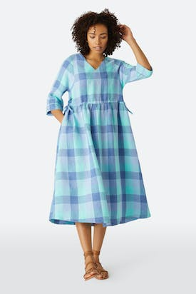 Photo of Marine Check Linen Dress