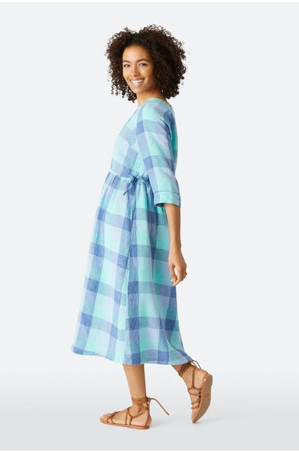Marine Check Linen Dress