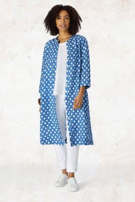 Photo of Ikat Spot Linen Shirt Dress