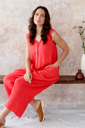 Photo of Linen Sleeveless Jumpsuit