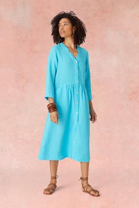 Photo of Nik Neck Linen Shirt Dress