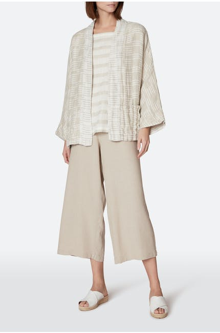 Double Natural Stripe Linen Jacket