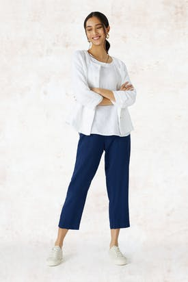 Photo of Waffle Linen Square Neck Jacket