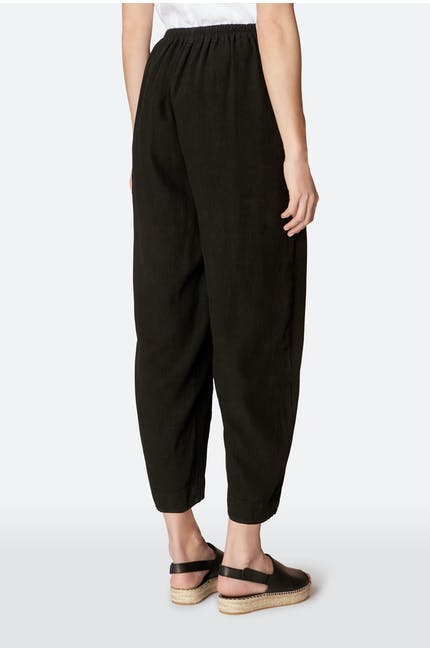 Textured Linen Cropped Trouser