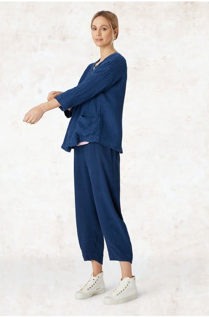 Photo of Textured Linen Crop Bubble Pant