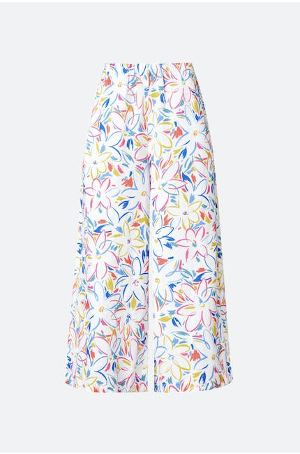 Forties Floral Print Linen Culotte