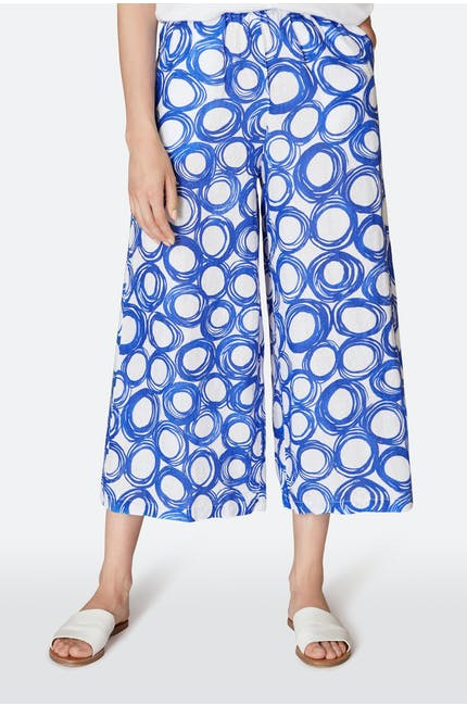 Graphic Spot Linen Trouser