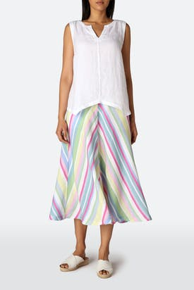 Photo of Rainbow Stripe A-line Linen Skirt