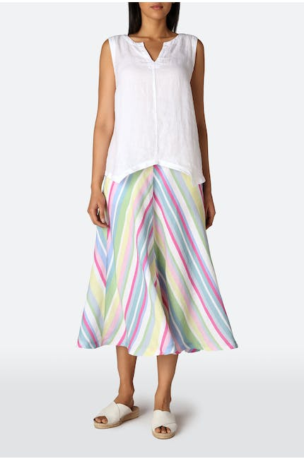 Rainbow Stripe A-line Linen Skirt