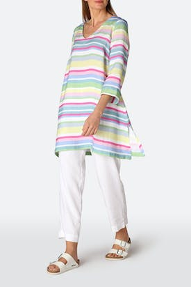 Photo of Rainbow Stripe Flared Linen Tunic