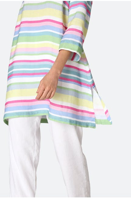 Rainbow Stripe Flared Linen Tunic