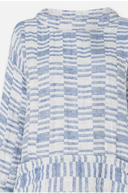 Irregular Check Linen Boxy Top