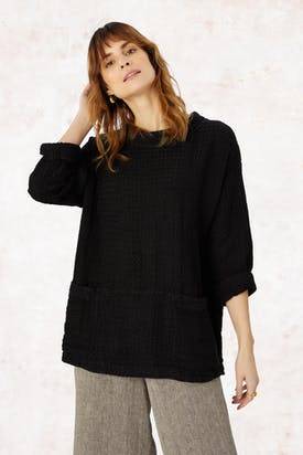 Photo of Waffle Linen Roll Neck Top