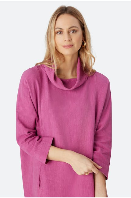 Textured Linen Cowl Tunic
