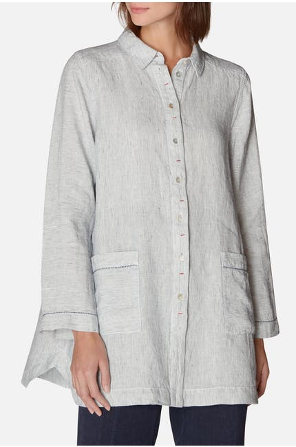 Ticking Stripe Linen Shirt