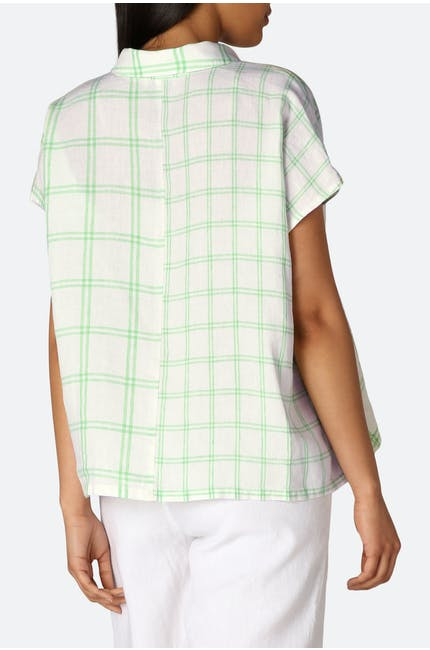 Patched Check Linen Shirt